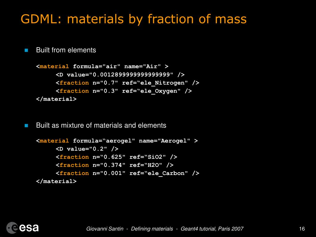 GDML: materials by fraction of mass