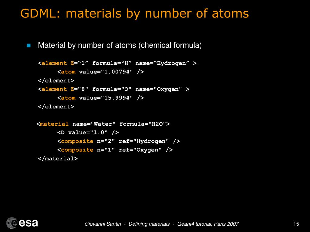 GDML: materials by number of atoms