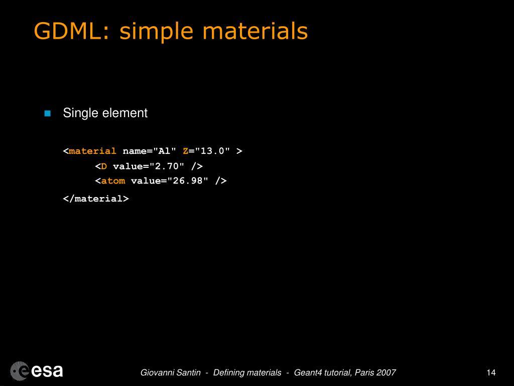 GDML: simple materials