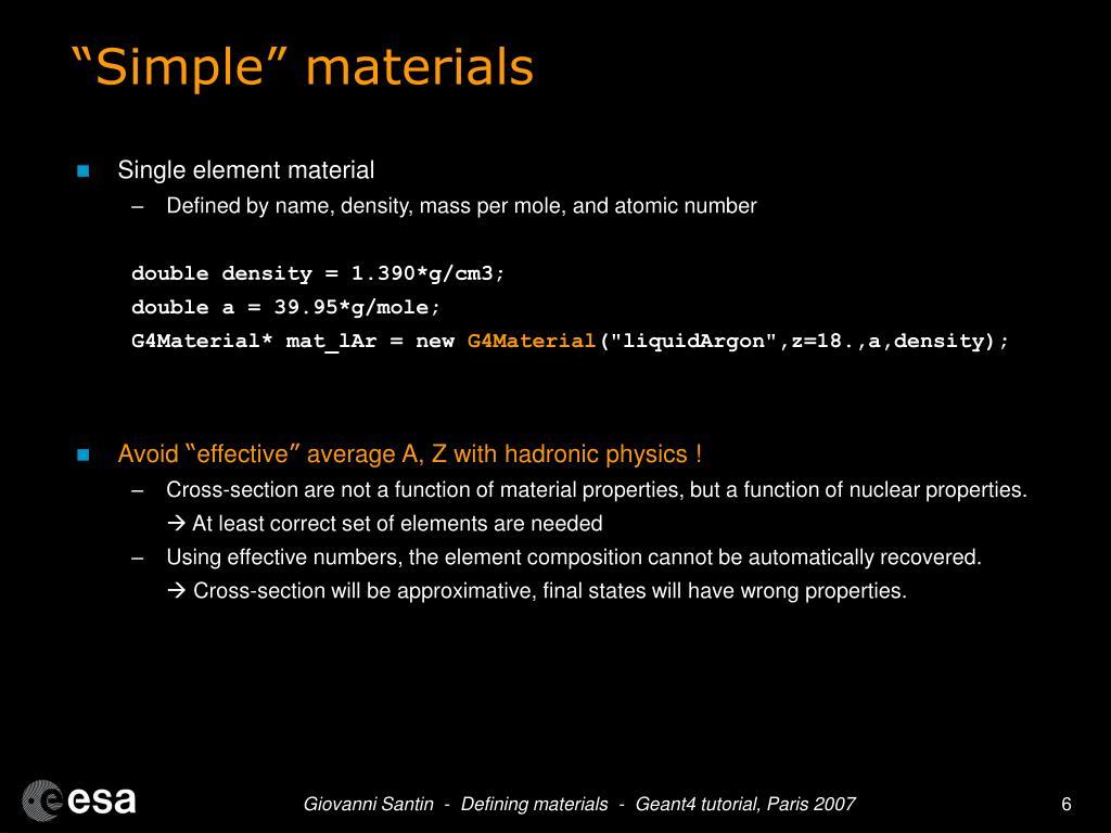 """""""Simple"""" materials"""