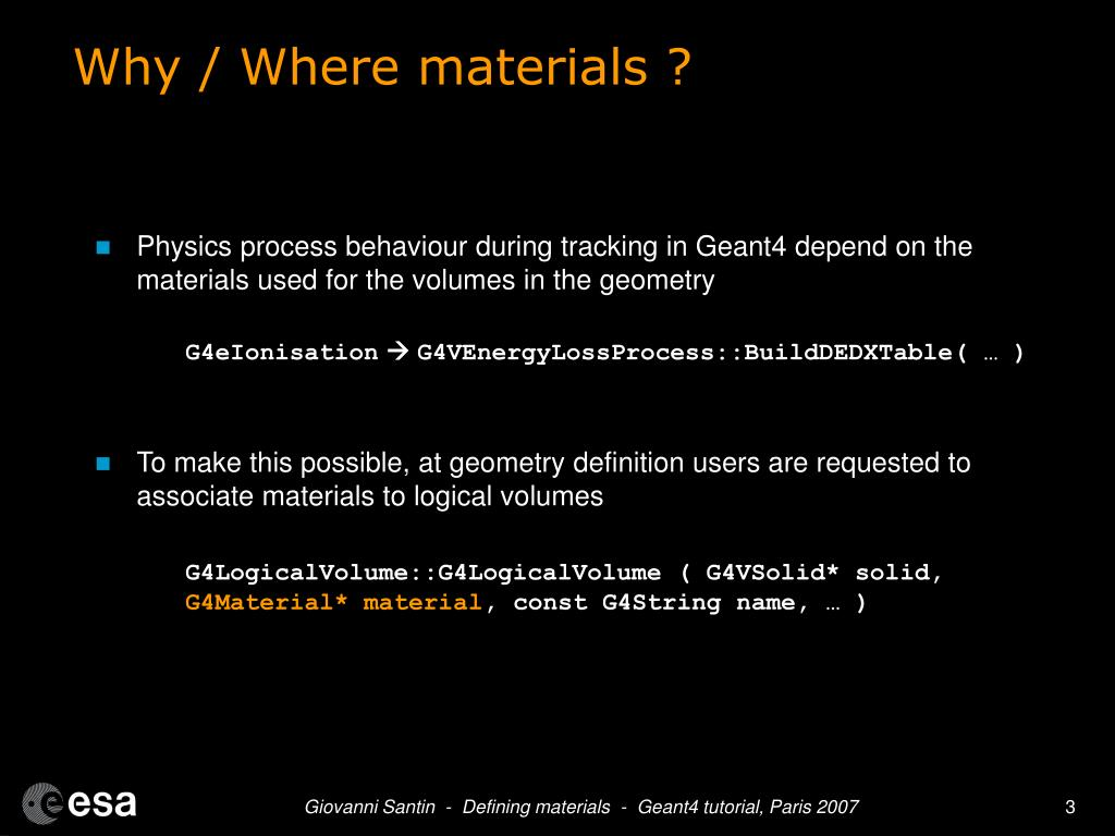 Why / Where materials