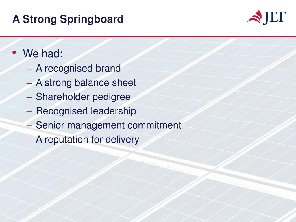 A Strong Springboard