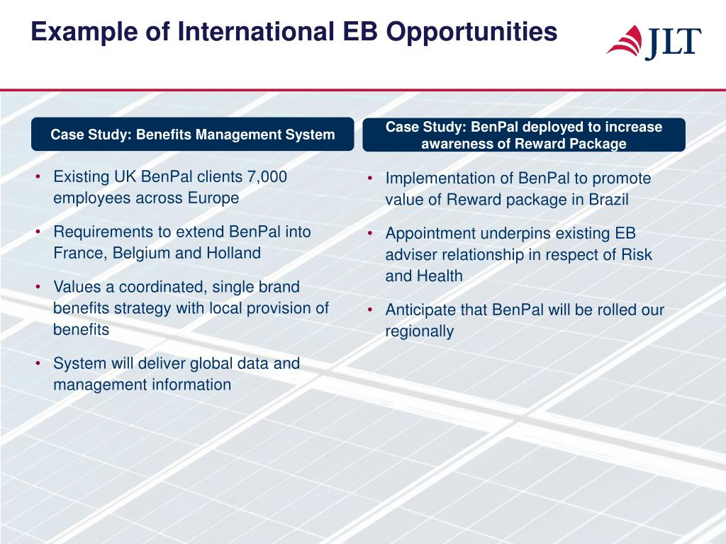 Example of International EB Opportunities