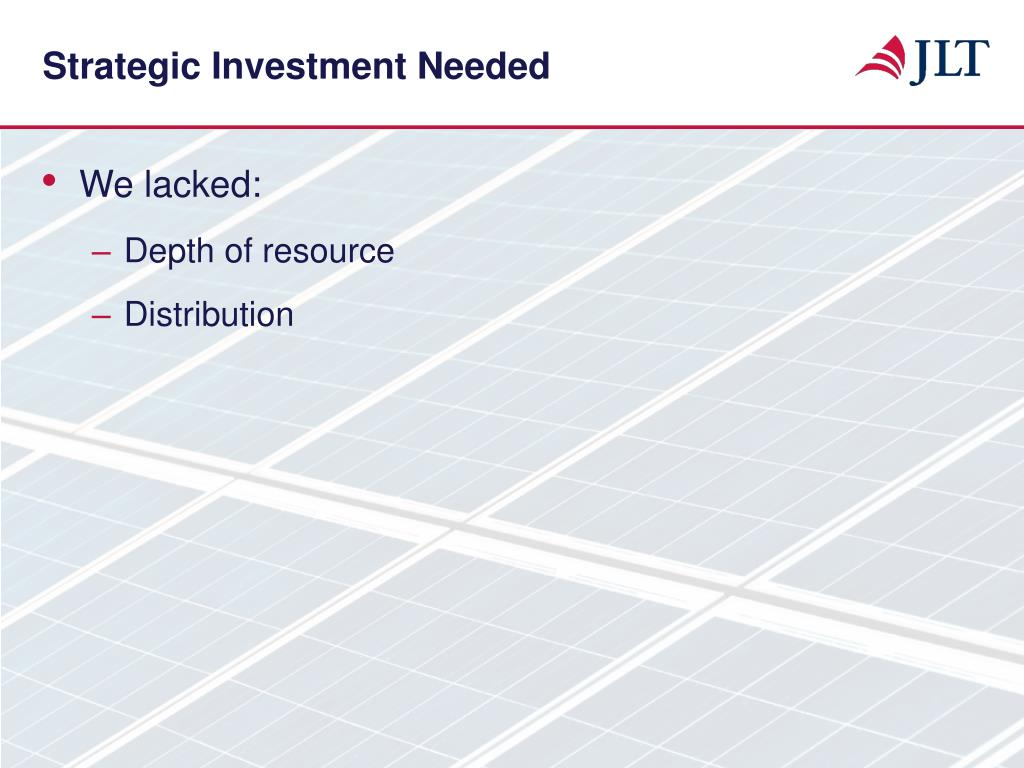 Strategic Investment Needed