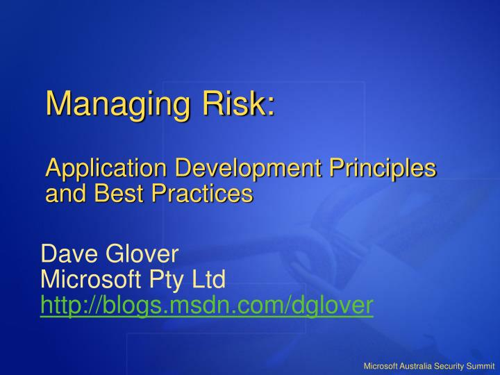risk management principles and practices In this exclusive q&a, mehna raissi, director of product management – enterprise risk solutions at moody's analytics, talks with michael infante, leader of cisco capital's global credit & risk management organization about credit and counterparty risk,.