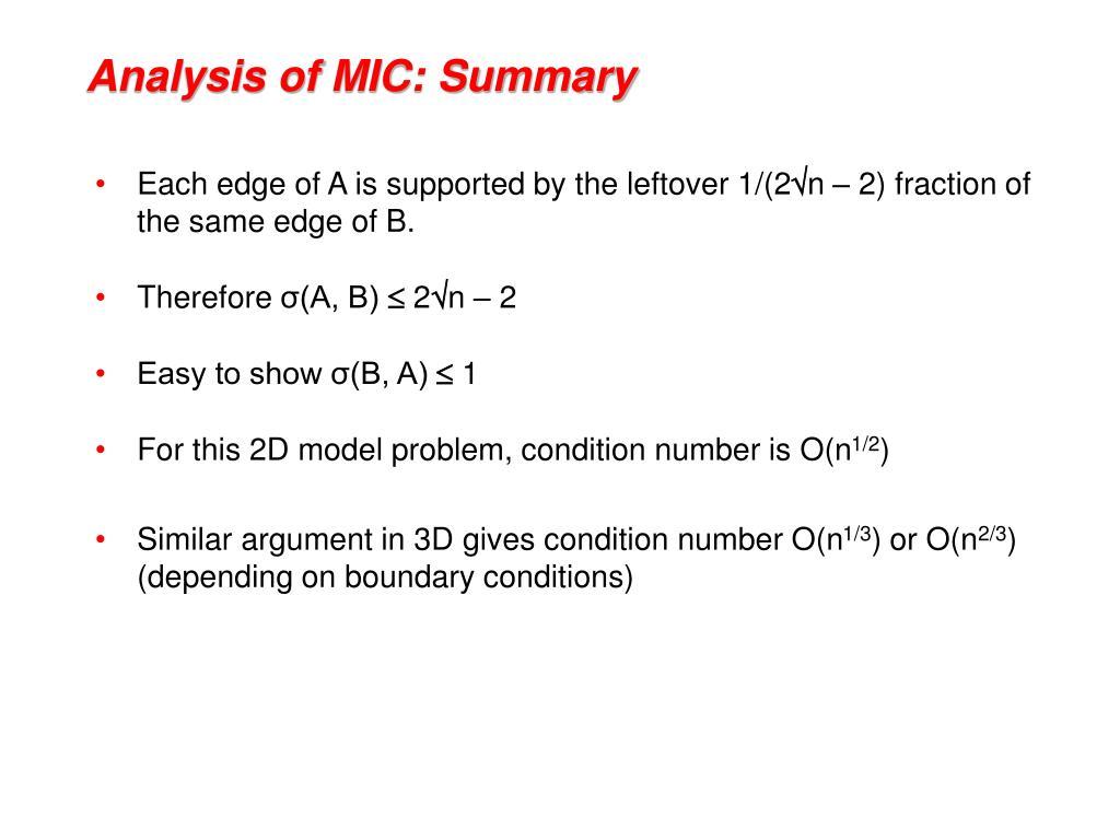 Analysis of MIC: Summary