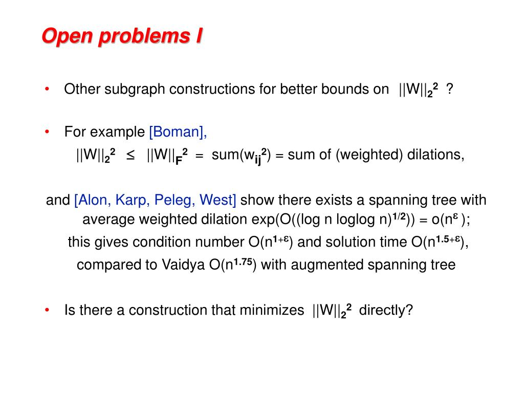 Open problems I