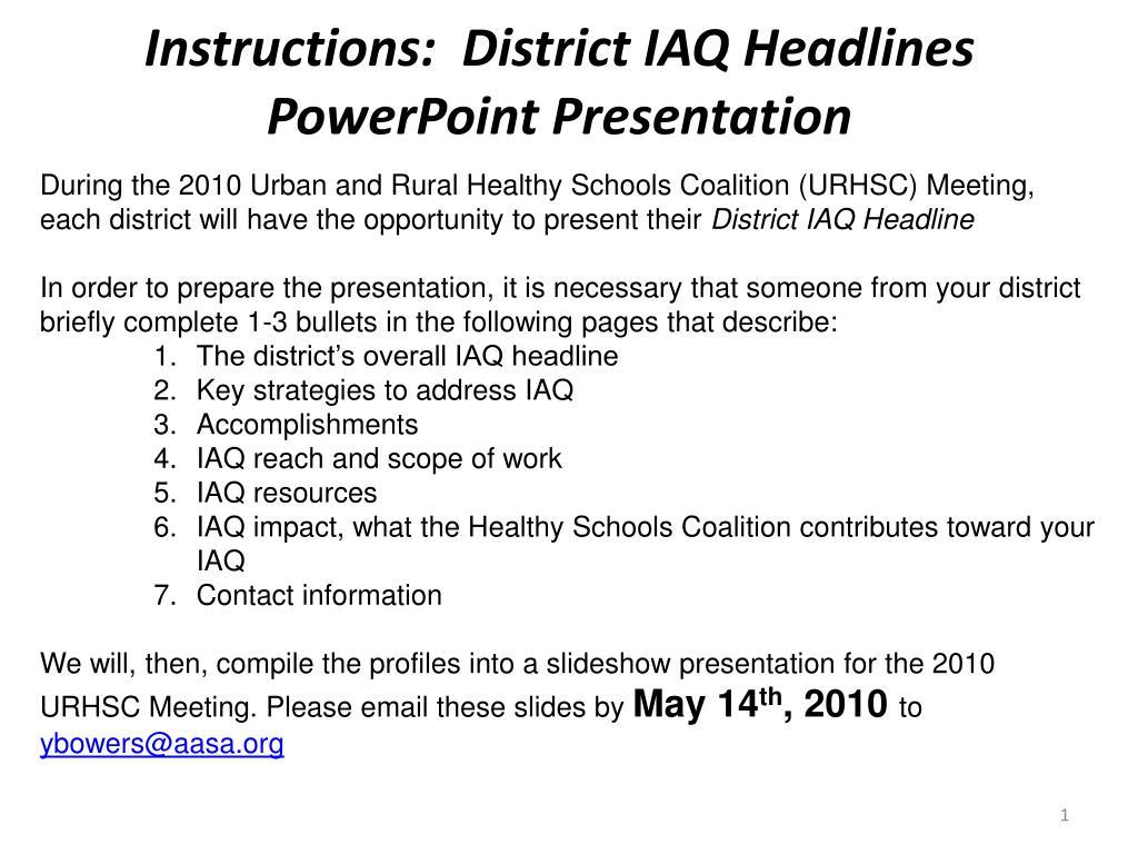 instructions district iaq headlines powerpoint presentation l.