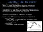 variability of hrf implications