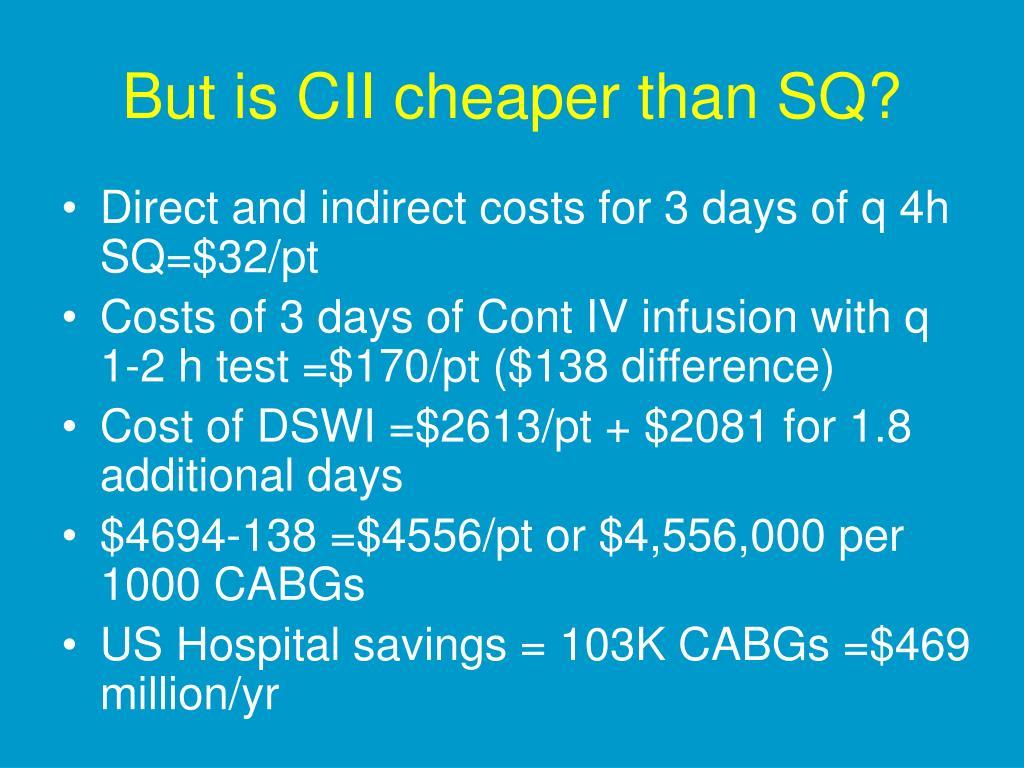 But is CII cheaper than SQ?