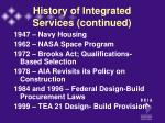 history of integrated services continued