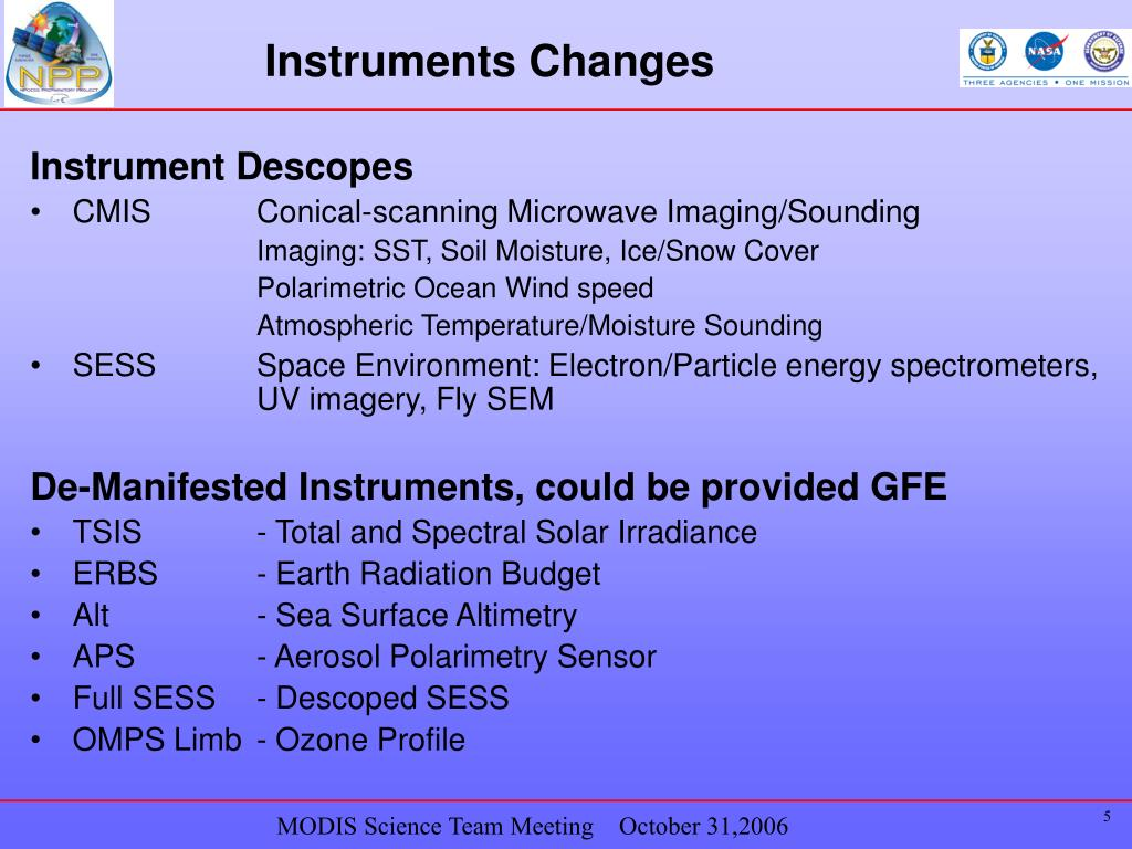 Instruments Changes