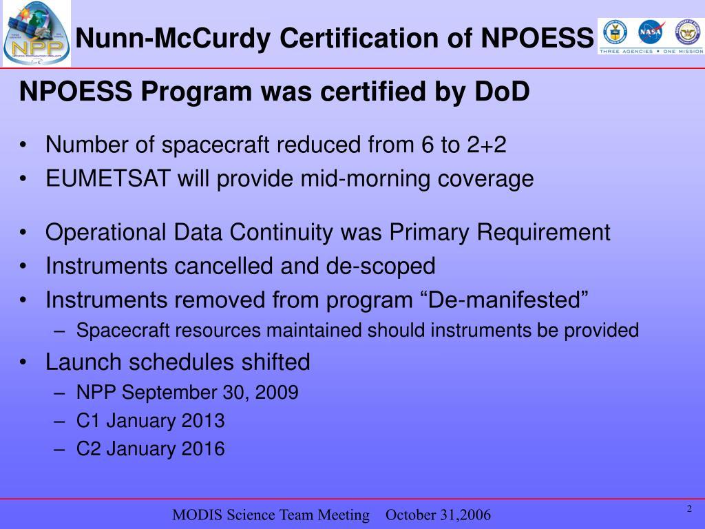 Nunn-McCurdy Certification of NPOESS