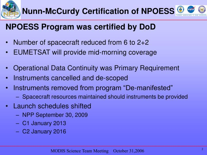Nunn mccurdy certification of npoess