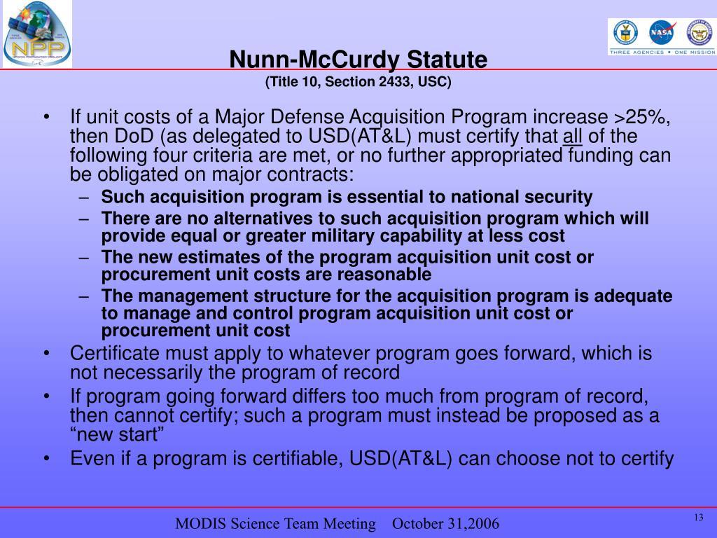 Nunn-McCurdy Statute