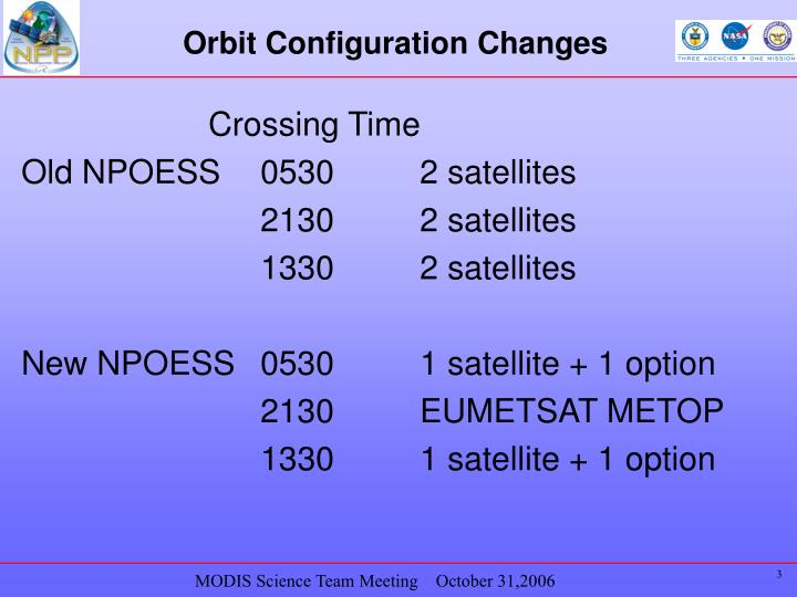 Orbit configuration changes
