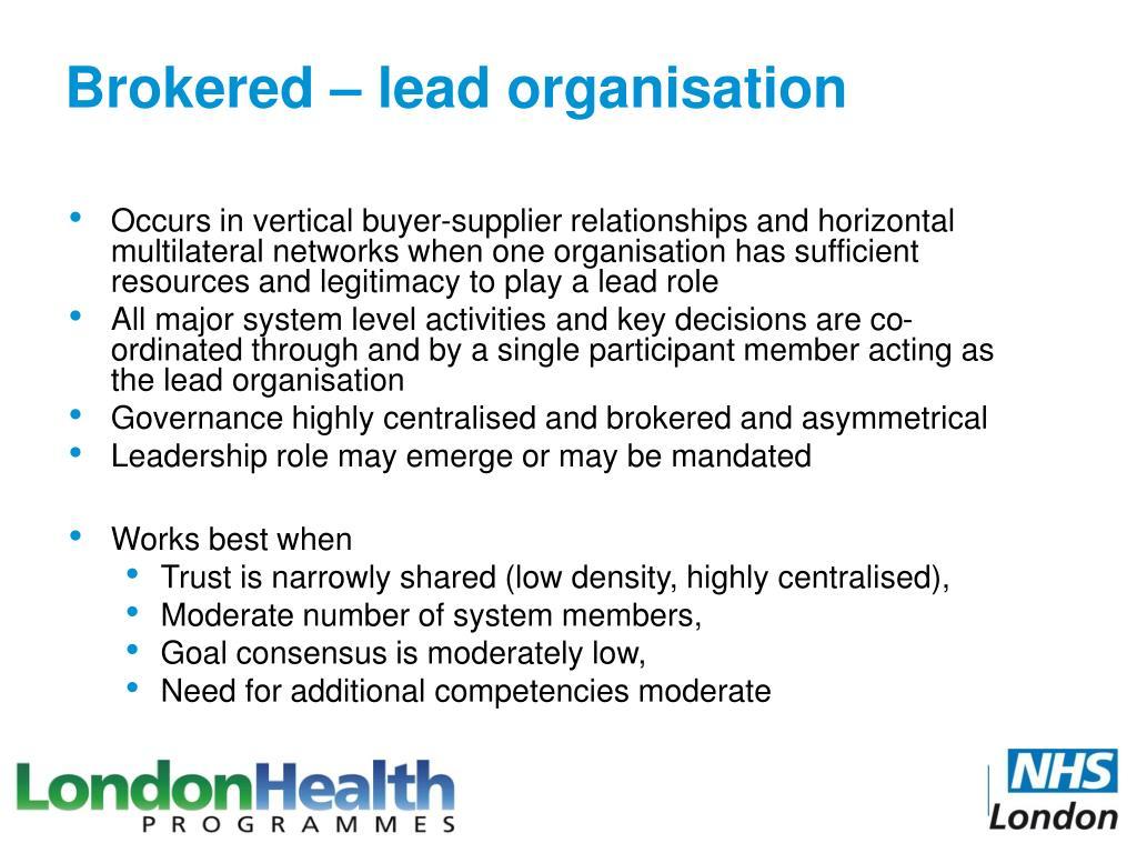 Brokered – lead organisation
