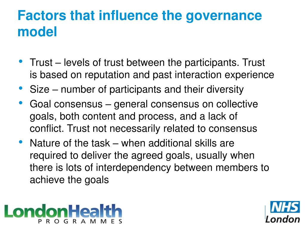 Factors that influence the governance model