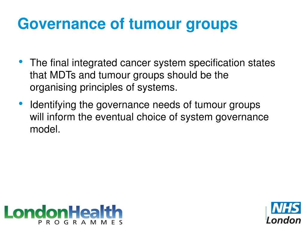 Governance of tumour groups