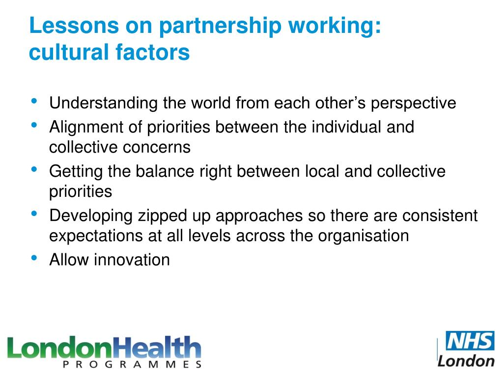 Lessons on partnership working:
