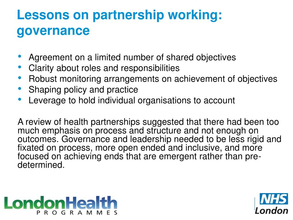 Lessons on partnership working: governance