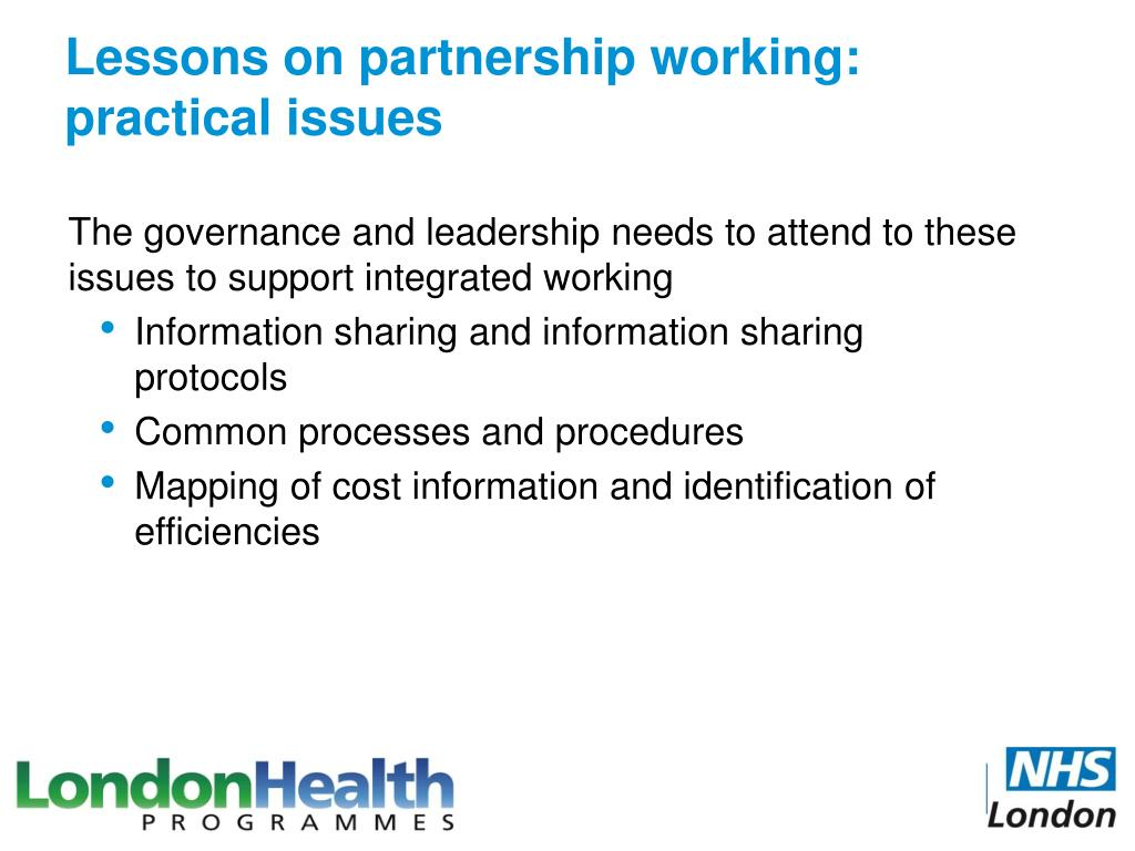 Lessons on partnership working: practical issues