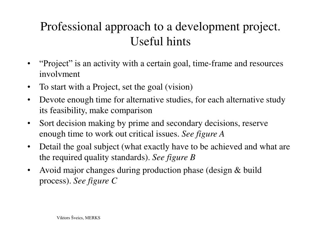 professional approach to a development project useful hints l.