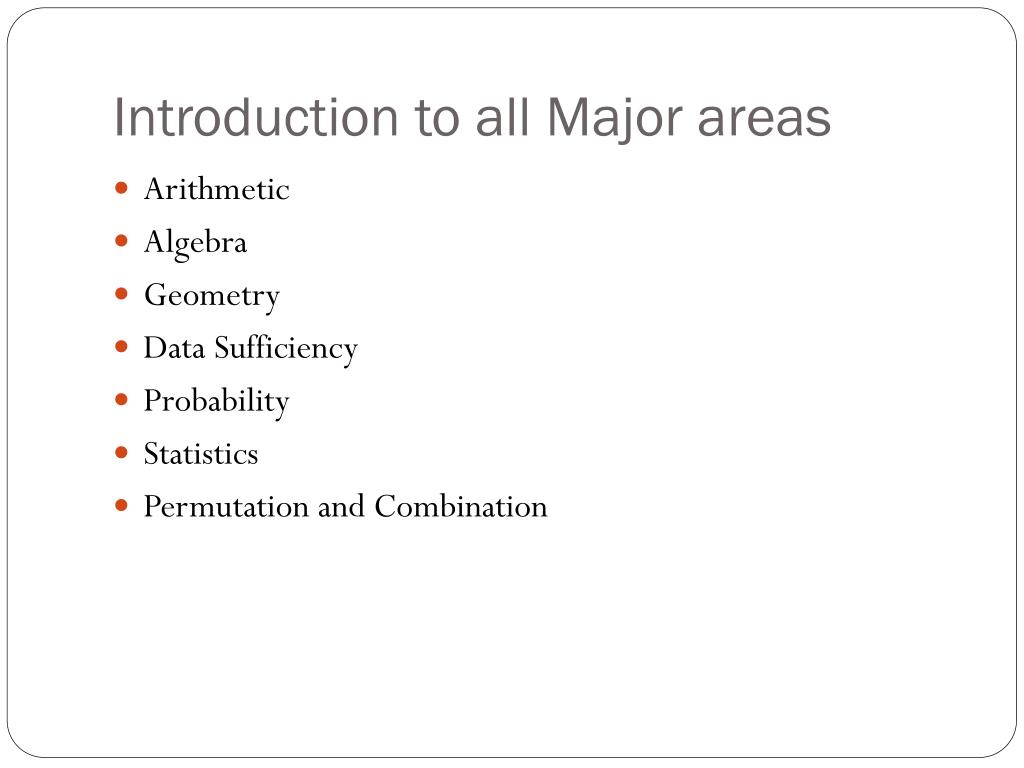 Introduction to all Major areas