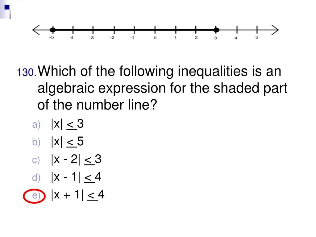 Which of the following inequalities is an algebraic expression for the shaded part of the number line?
