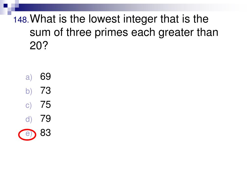 What is the lowest integer that is the sum of three primes each greater than 20?