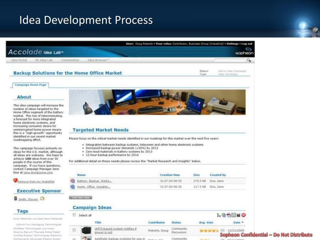 Idea Development Process