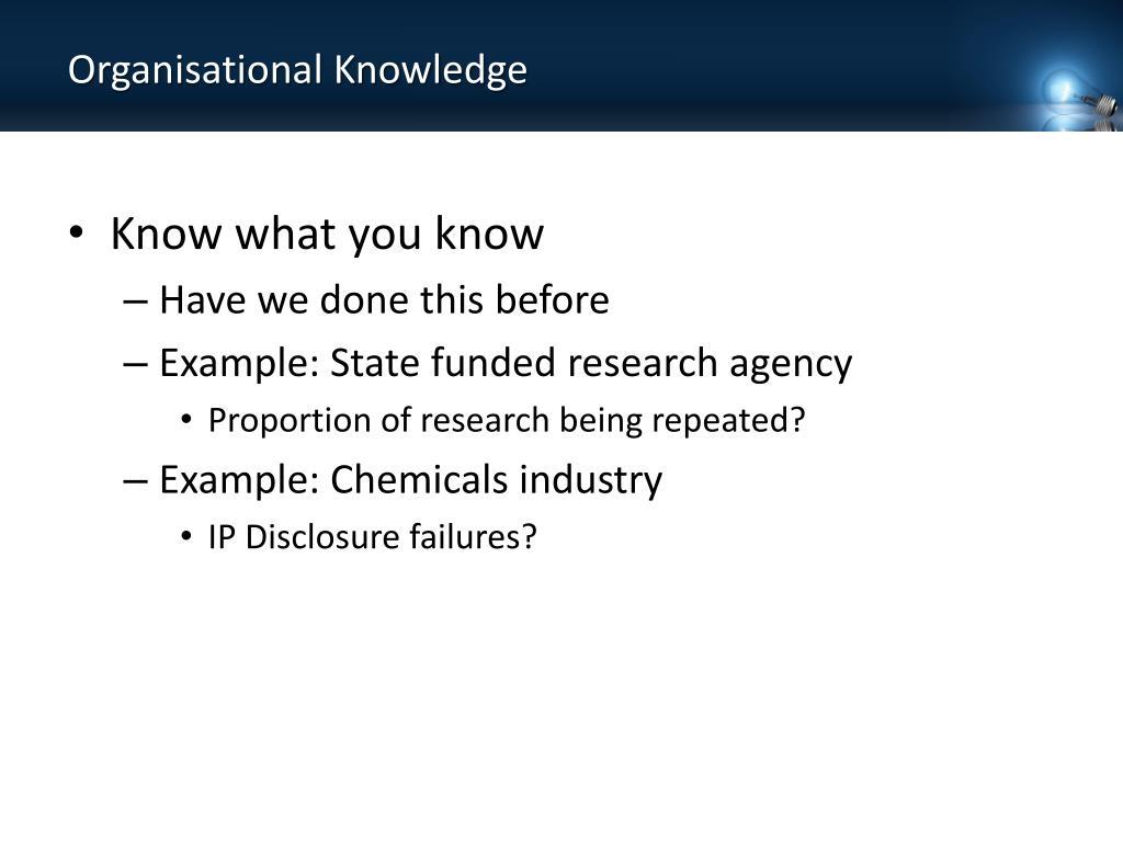 Organisational Knowledge