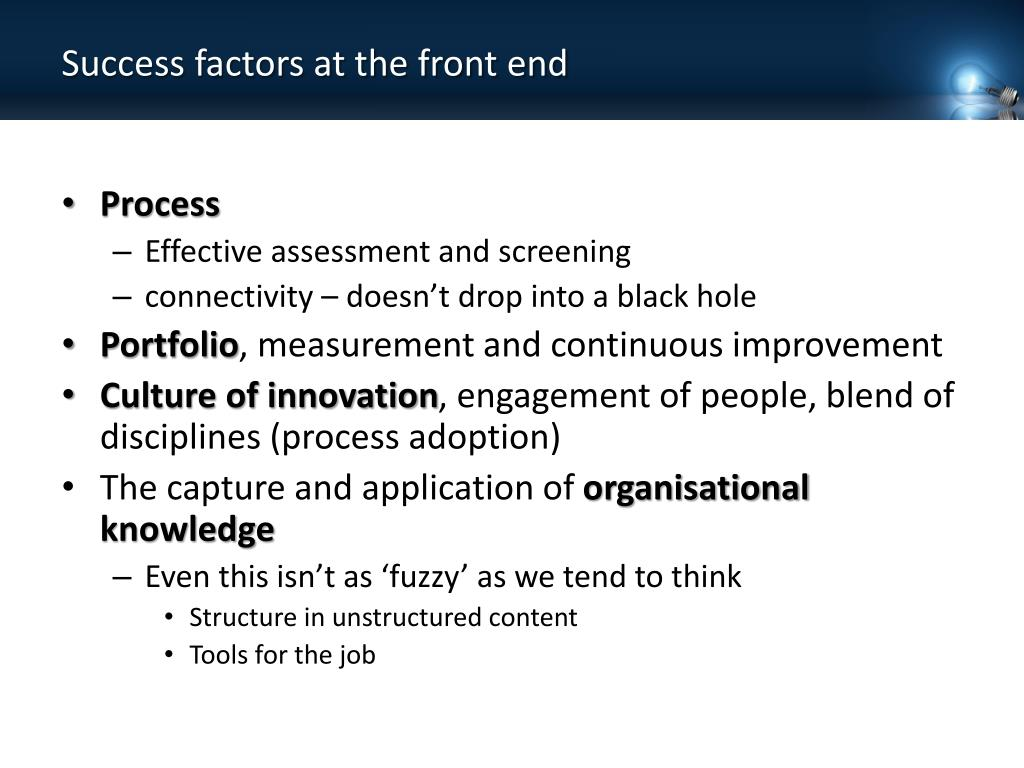 Success factors at the front end