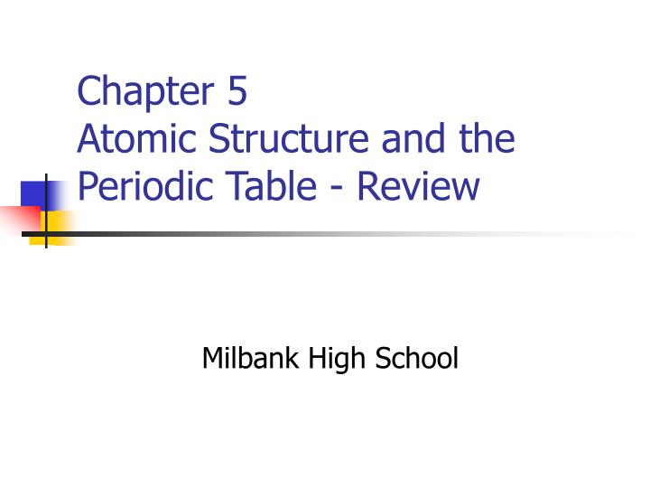 Chapter 5 atomic structure and the periodic table review