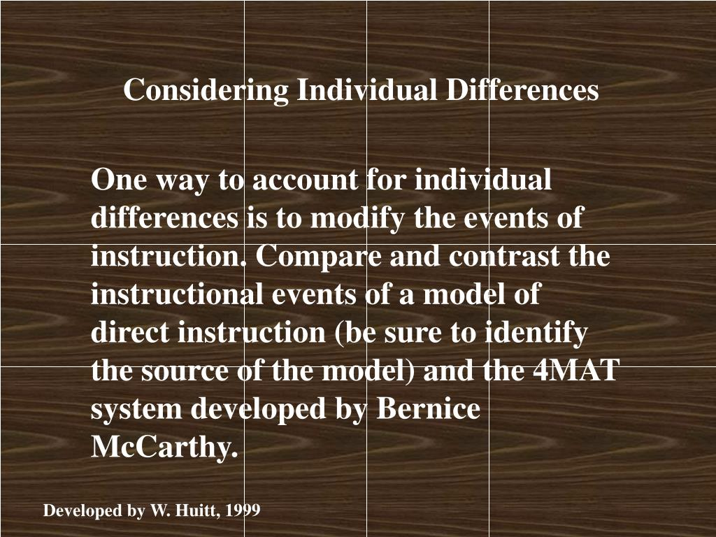 Considering Individual Differences