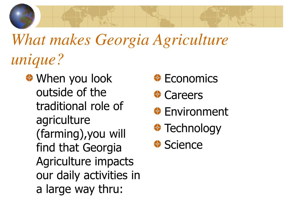 When you look outside of the traditional role of agriculture (farming),you will find that Georgia Agriculture impacts our daily activities in a large way thru: