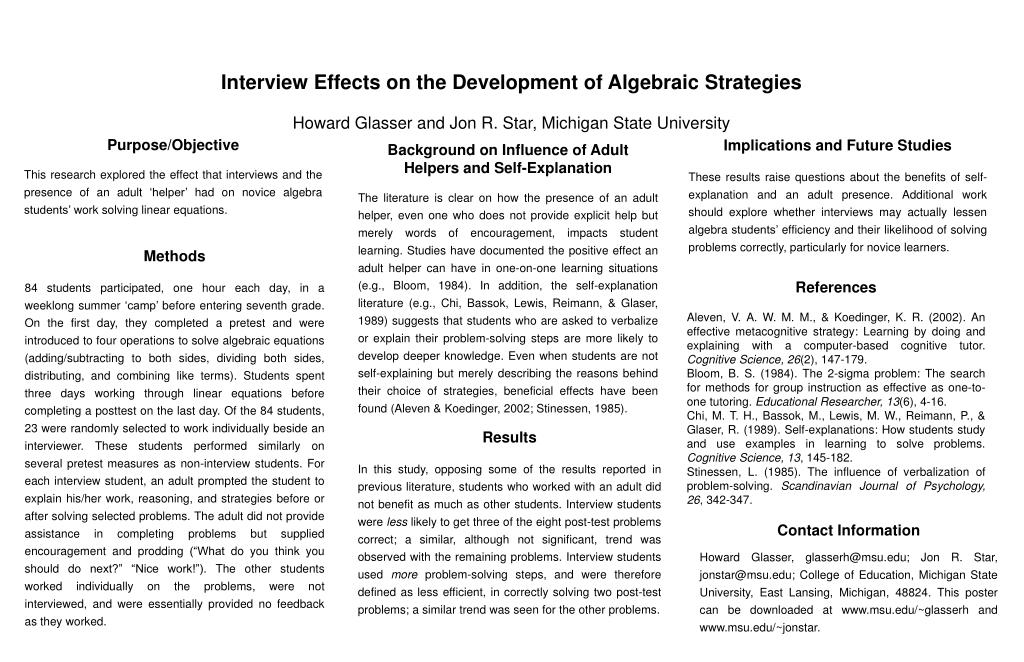 Interview Effects on the Development of Algebraic Strategies