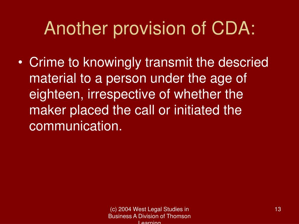 Another provision of CDA: