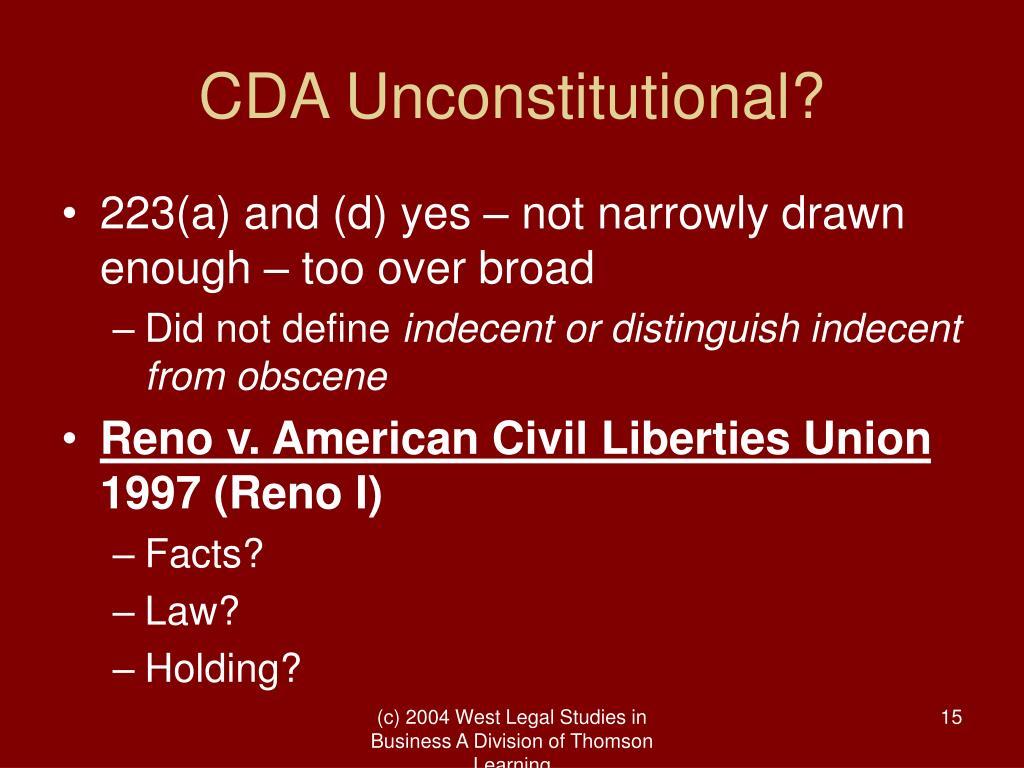 CDA Unconstitutional?
