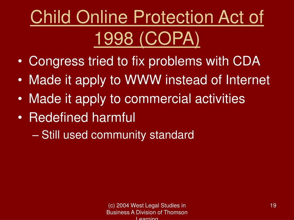 Child Online Protection Act of 1998 (COPA)