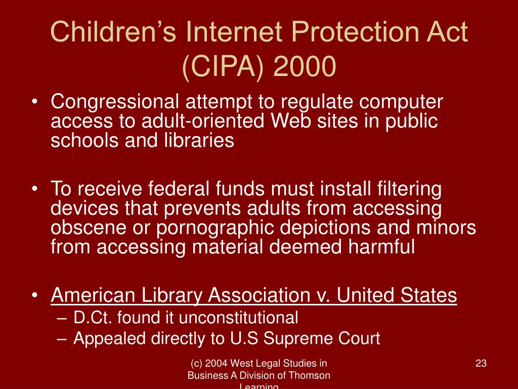 Children's Internet Protection Act (CIPA) 2000