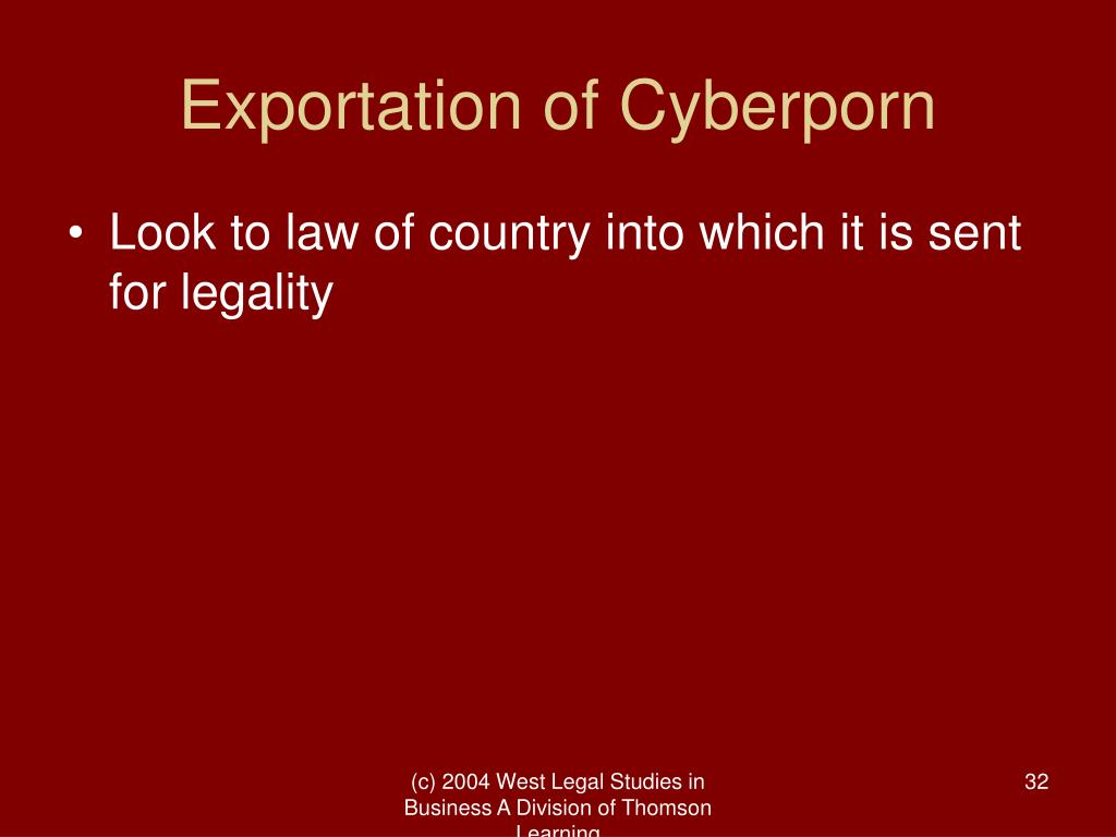 Exportation of Cyberporn