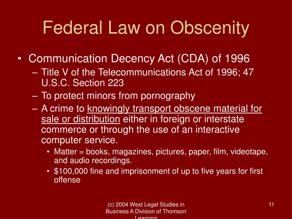 Federal Law on Obscenity