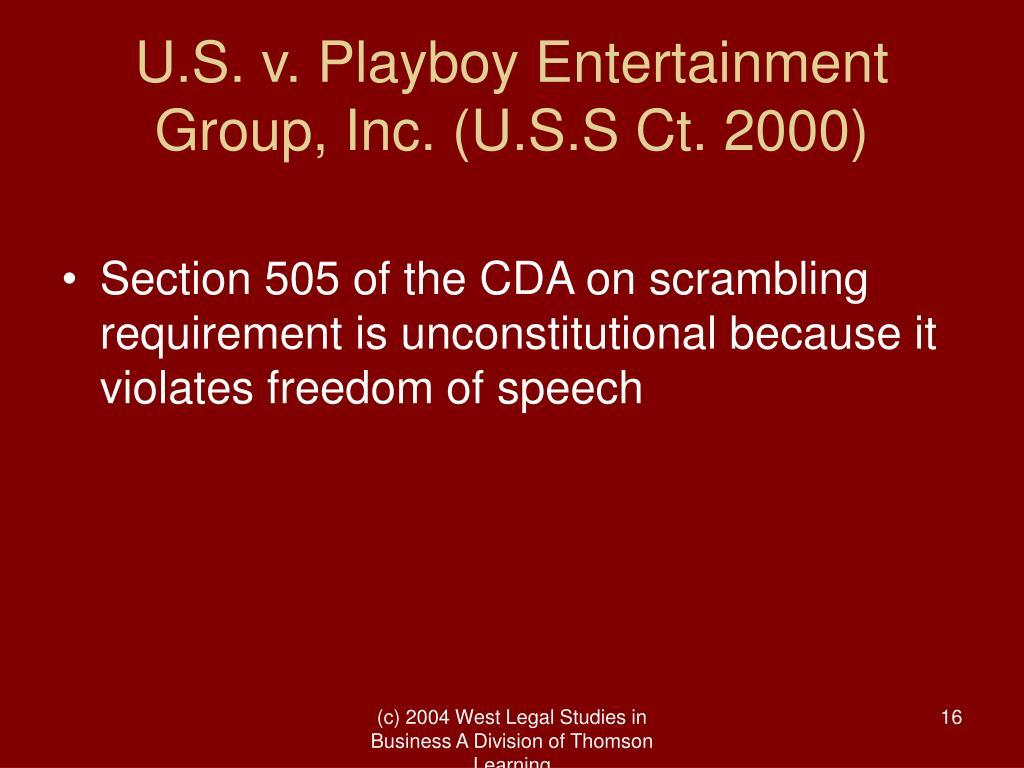 U.S. v. Playboy Entertainment Group, Inc. (U.S.S Ct. 2000)