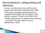 personalisation safeguarding and dementia