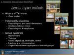 lesson topics include