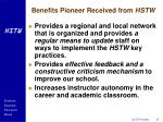 benefits pioneer received from hstw