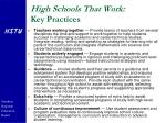 high schools that work key practices35
