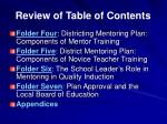 review of table of contents7
