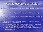 main preparatory activities